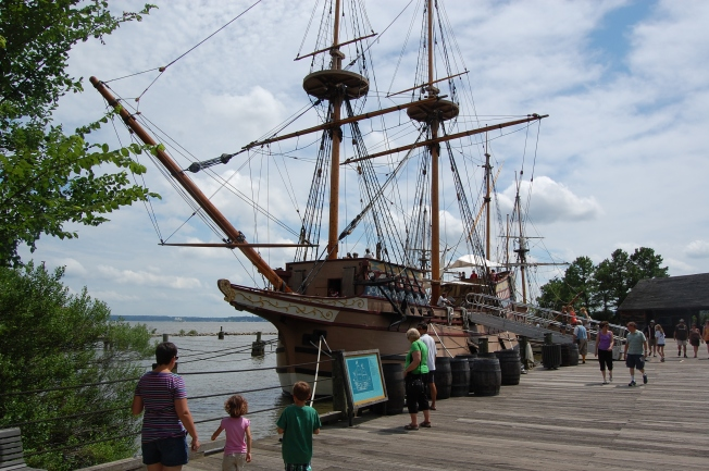 The kids and I exploring a replica of one of the ships that sailed from England to Jamestown, VA.
