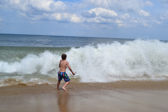 The waves were so big, the kids couldn't go in far even if they wanted.