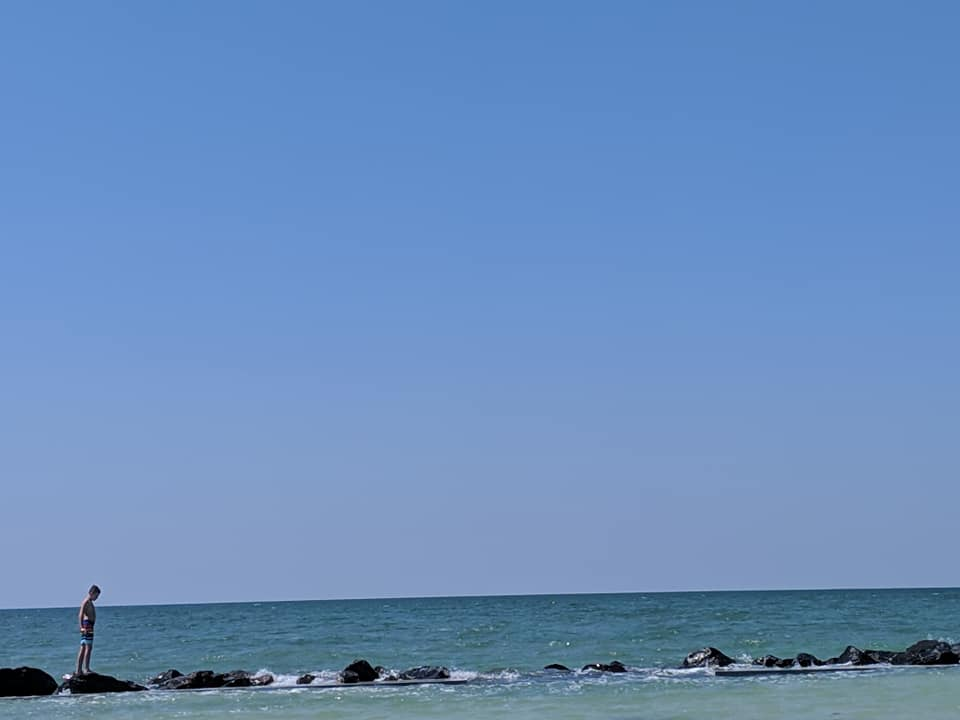 Scorch on the breakwater in the Gulf