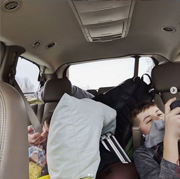 The Bean and Scorch in the car on the way to FL.