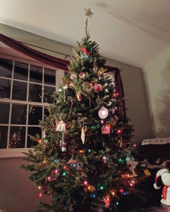 Our Christmas tree- covered in multi-colored lights and a mix of homemade and store-bought ornaments.