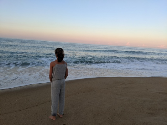 The Bean standing at the edge of the ocean, wearing a grey jumpsuit, at dusk. The waves are ca